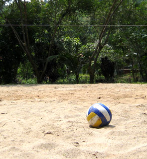 Play beach or pool volleyball, badminton, petanque (boccia) or a board game